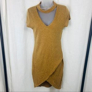 Black Bead Soft Ribbed Mustard Wrap Tulip Dress!